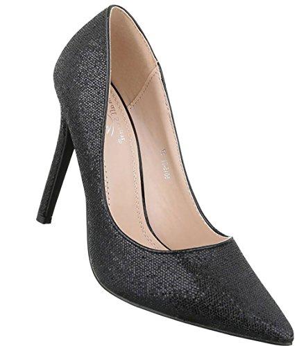 49017f726576 Damen Pumps Schuhe High Heels Stöckelschuhe Stiletto Schwarz Schwarz Gold  Rot Silber 35 36 37 38