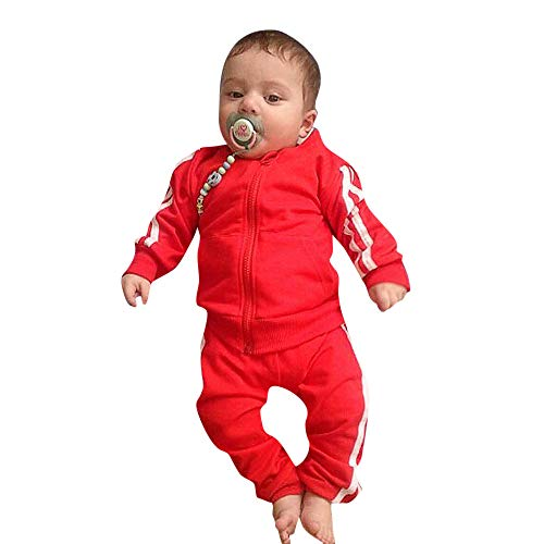 (Winter Baby Outfits,Fineser Newborn Toddler Kid Baby Girls Boys Solid Stripe Zipper Jacket Tops+Pants Tracksuit Clothes Sets (Red, 6 Months(70)))