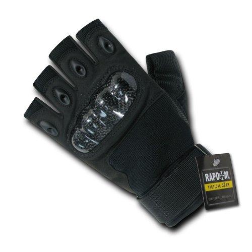 Duty Riding Gloves (Rapdom Tactical Half Finger Knuckle Glove, Black, Large)