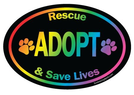 Rescue, Adopt and Save Lives Oval Magnet