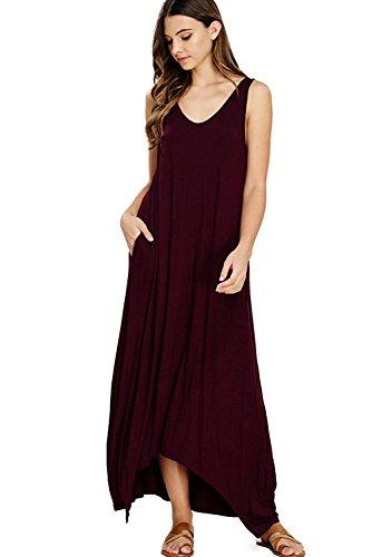 ZOLLOR Women's Casual V Neck Sleeveless Bodycon Tank Summer Dress,Plain Loose Maxi Dress with Pockets(Wine Red,XL)