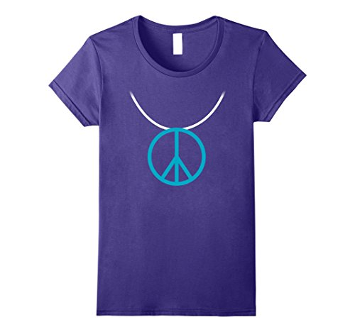 Womens 1960s Hippie Costume Shirt Peace Sign Necklace Large Purple -