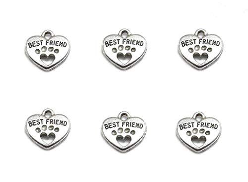 30pcs Heart Shape Pet Paw Print Best Friend Paw in Heart Lettering Charm Double-Sided Pendant for DIY Bracelet Necklace DIY Jewelry Making Findings(Silver Tone)