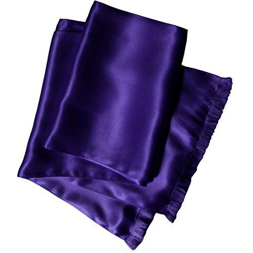 Aubergine Silk Aviator Scarf for Men - Double Layered Satin Silk - Royal Silk