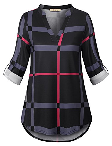 Bebonnie Tunic Tops for Leggings for Women, Ladies 3/4 Sleeve Plaid Vintage Funny Modest Vacation Shirt Medieval Clothing Flare Dressy Blouses Multicolor Black XXL by Bebonnie