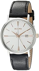 Bulova mens 98B254 20mm Leather Calfskin Black Watch Bracelet