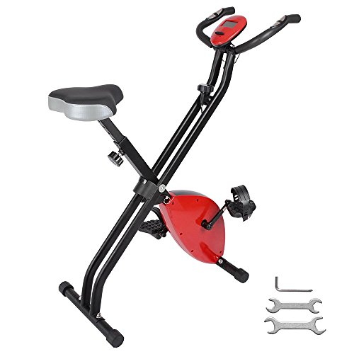 ReaseJoy Foldable Magnetic Exercise Bike Folding X Bike Cardio Fitness Workout Weight Loss Cycle Bicycle Home Cycling Machine 2.5KG Flywheel with LCD Display Adjustable Seat Pulse Sensor Grips Red