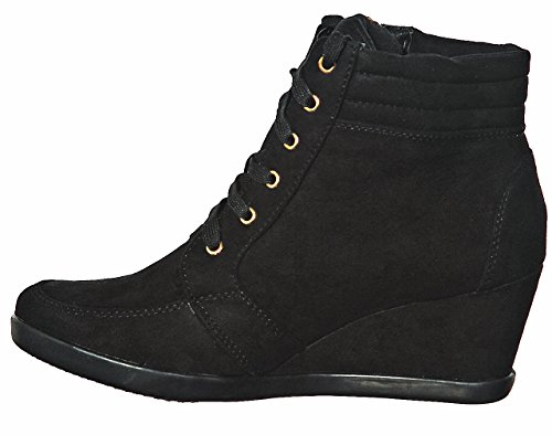 Hi shoewhatever Lace Wedge Black56 up Fashion Pl Sneakers Women's Top qaRaEr