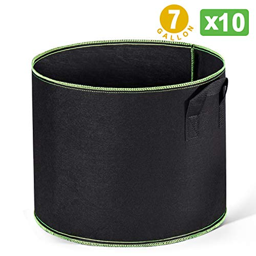 Delxo 10-Pack 7 Gallon Grow Bags Heavy Duty Aeration Fabric Pots Thickened Nonwoven Fabric Pots Plant Grow Bags with Handles
