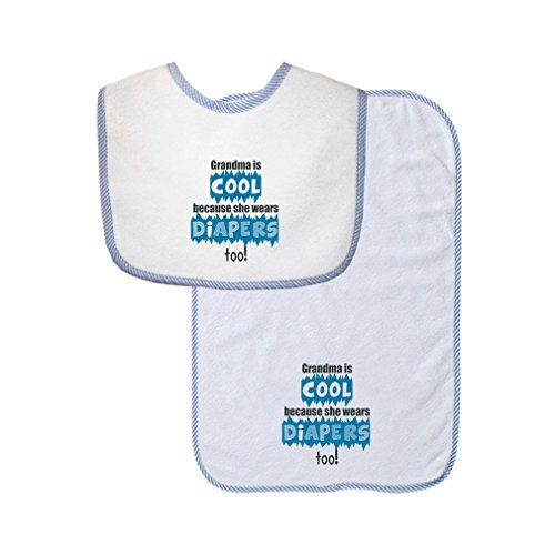 Grandma Is Cool She Wears Diapers Too Cute Rascals Gingham Baby Bib & Burb Set Blue by Cute Rascals