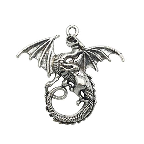 Youdiyla 10 PCS Dragon Pendants, Antique Silver, Fly Fire Dragon with Wings Metal Charms for Jewelry Making DIY Findings