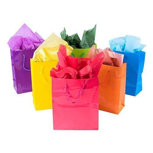 Tytroy Medium Bright Neon Colored Glossy Finish Paper Gift Bags with Handles All Occasion Present Bags (12 Pack)