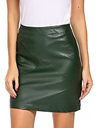 Women Classic High Waisted Faux Leather Bodycon Slim Mini Pencil Skirt
