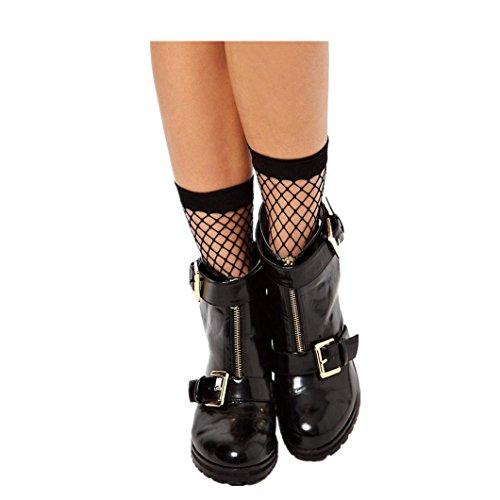 DZT1968 Women Sexy Lace Skidproof Fishnet Net Plain Top-Ankle Short extension Socks