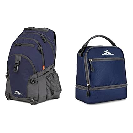 424203adf5be8c Image Unavailable. Image not available for. Color: High Sierra Loop Backpack,  True Navy/Mercury and High Sierra Stacked Compartment Lunch Bag