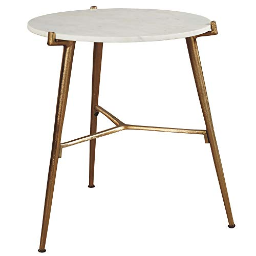 Signature Design by Ashley - Chadton Accent Table - Contemporary - White/Gold Finish