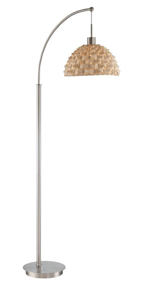 Arch Lamp in Natural Finish with Bamboo Shade
