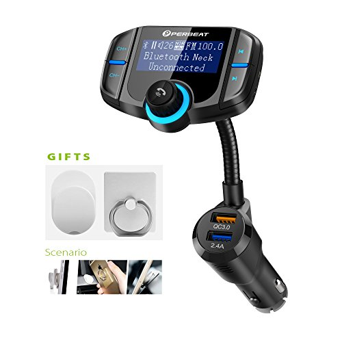 Perbeat Bluetooth FM Transmitter for Car Wireless Aux Adaptor Receiver Hands Free 2.4A Fast Charger with 1.7Inch Larger Display, Micro SD Reader, AUX In/Out for All 12-24V Cars.