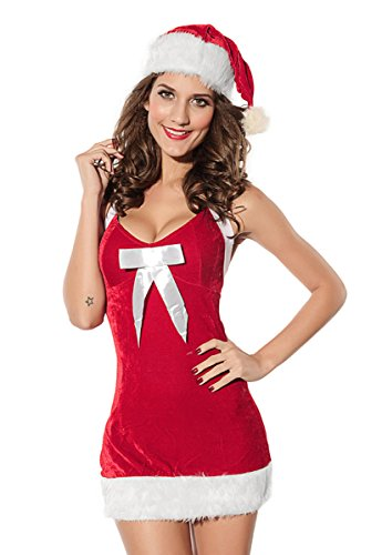 Mumentfienlis Womens Christmas Dress Costume Mrs Santa Claus Costume (Small / Medium) (Mrs Claus Dresses)