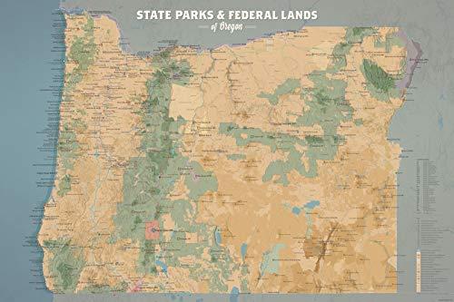 Best Maps Ever Oregon State Parks & Federal Lands Map 24x36 Poster (Camel & Slate Blue)