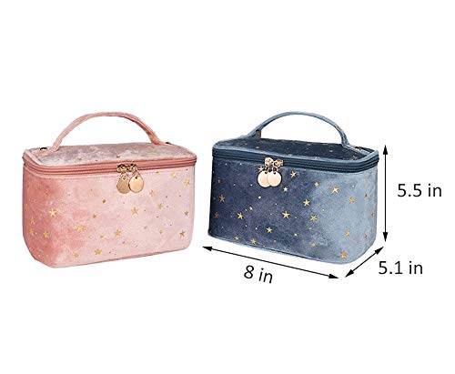 HOYOFO Women Velvet Makeup Bag with Makeup Brush Holder Travel Cosmetic Bags with Handle Starry Make up Pouch Bag, A Blue