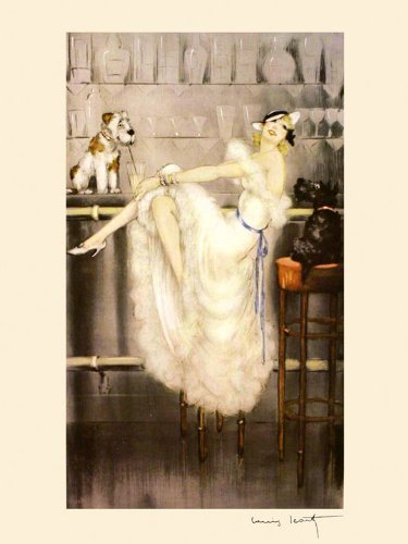 Le Cocktail by Louis Icart Lady /& Dogs at Martini Bar 16x20 Vintage Repro Poster