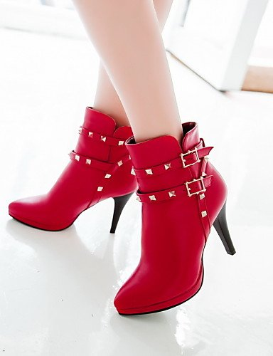 Citior Mode Bottes Forme red Bout Pointu Stiletto Femme pour Chaussons Chaussures Chaussons Plate Talon de pour décontracté Femme Bottes rxwqr7a