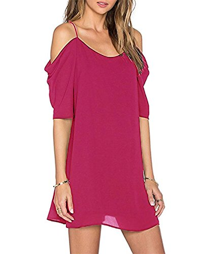 OUGES Women's Cut Out Cold Shoulder Puff Sleeve Spaghetti Strap Dress Top(Rose,S) (Puff Shoulder Dress)