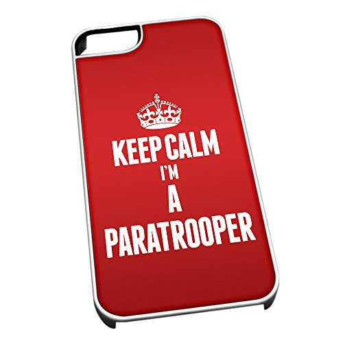 Bianco cover per iPhone 5/5S 2641 Red Keep Calm I m A paracadutista