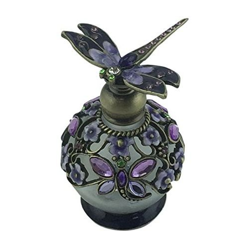 Welforth Lavender Dragonfly Pewter and Glass Perfume Bottle