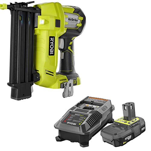 Ryobi 3 Piece 18V One+ Airstrike Brad Nailer Kit (Includes: 1 x P320 Brad Nailer, 1 x P190 18-Volt ONE+ 2.0 Ah lithium-ion compact battery P118 dual chemistry charger and an operator's manual -  Ryobi america corporation, P320 and P163
