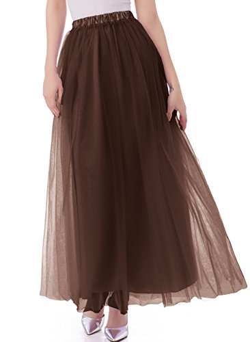 emondora Tutu Tulle A-Line Floor Length Skirt Women Prom Evening Gown Dress up Brown Size (Floor Length A-line Skirt)