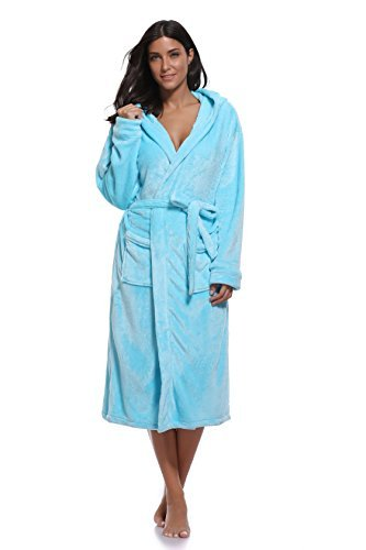 Hooded Blue Robe (Luvrobes Women's Fleece Long Hooded Kimono Robe(M/L,SkyBlue))