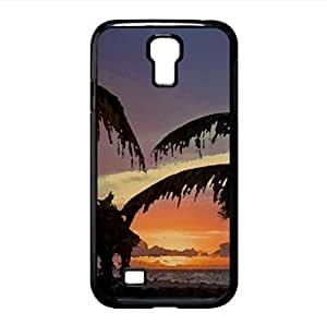 Palm Trees On The Beach Sunset Watercolor style Cover Samsung Galaxy S4 I9500 Case (Beach Watercolor style Cover Samsung Galaxy S4 I9500 Case)