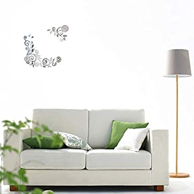 BESPORTBLE 3D Acrylic Mirror Wall Sticker DIY Rattan Wall Decals Room Decor Sofa TV Setting Wall Removable Wall Art (Silver): Baby