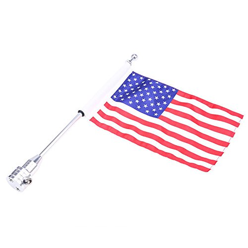 ertical Rear Side Mount Flag Pole with American Flag For Harley Davidson Honda Suzuki Yamaha (USA Flag with Round Pole) (Rack Flag Mount)