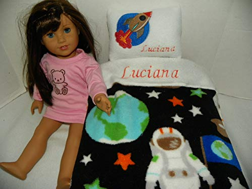 Astronaut Print Doll Bedding (Blanket and Pillow): Personalized for American Girl Doll Luciana
