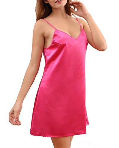 MYIFU Womens Satin Lingerie Nightdress Sexy Negligee Strap Nightgown Chemise Slip Sleepwear (Rose Red, L)