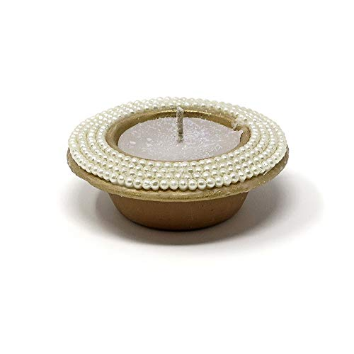 Serene Spaces Living 2.5-Hour Coin Candle in Handmade Terracotta Pot with Pearl Beads by CPAA, Ideal for Lighting at Christmas, Available in Sets of 4 and 9 (4)