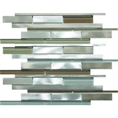 MS International Madison Avenue Interlocking 12 in. x 12 in. x 8 mm Glass Metal Mosaic Wall Tile - Box of 5 sheets