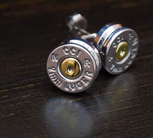 9MM Aluminum Bullet Casing Earrings with Titanium Posts, Hypoallergenic, Nickel Free, Bullet Earring Studs