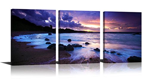 Purple Wall Art for Home Decor Sunset Modern Oil Painting Seascape Printed on Canvas Hang in Bedroom Living Room 12x16in (Purple Print Art Black)