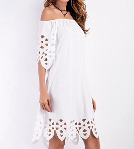 White Sleeve Off Mini Women Dress Shoulder Coolred Casual Out Hollow Short EwIBqIvxZS