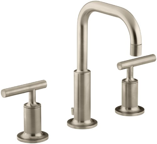 (KOHLER Purist K-14406-4-BV Widespread Bathroom Sink Faucet with Metal Drain Assembly in Brushed Bronze)