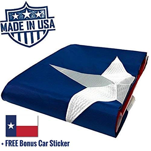 100% US Made Texas Flag 3x5 ft - Embroidered Star, Tough, Long Lasting Nylon Built for Outdoor Use, UV Protected and Sewn Using Quadruple Lock Stitching on Fly End