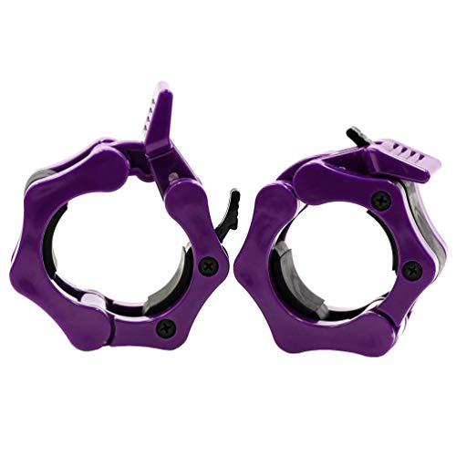 (Greententljs Barbell Clamps 2 Inch Olympic - Pair of Collars Quick Release Locking Barbell Workout Pro Weight Plate Clamp Clips for Gym Power Heavy Weightlifting Fitness (Purple))