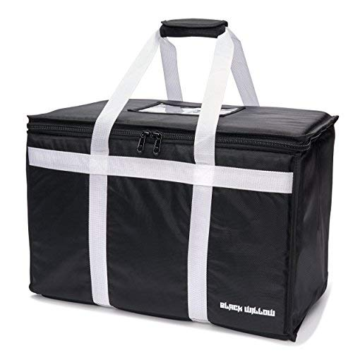 Food Delivery Bag   Insulated for Grocery Travel Tote, Commercial Meal Prep, Catering and Restaurant Service   Professional Quality   Multi-Purpose Thermal Carrier for Hot and Cold - by Black Willow