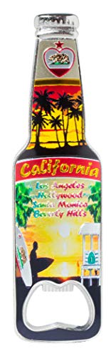 - California Bottle Opener Heavy Duty Metal Souvenir Refrigerator Magnet (LA Surfer Sunset)