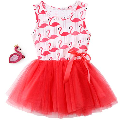 Girls Flamingo Tulle Dresses Fancy Costume Pageant Party Dresses with Hair Clip