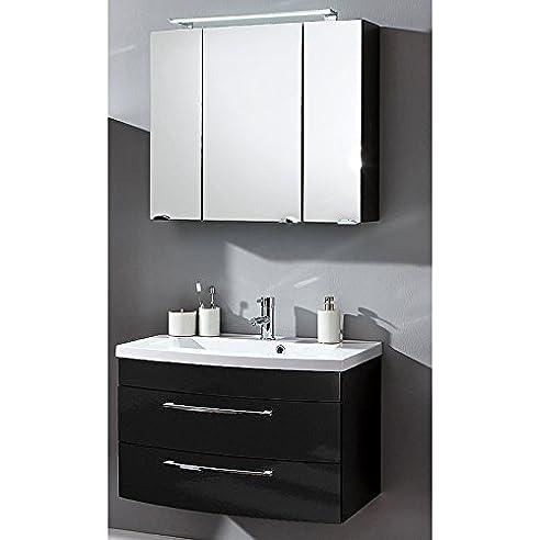 Badmöbel Set 2 Teilig ○ Waschtisch Mit Unterschrank U0026 Spiegelschrank Mit  LED Beleuchtung ○ Hochglanz Nice Design